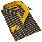 Coogi Luxe Men's Yellow and Black Plaid Button-up Dress Shirt