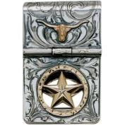 Western Mens Money Clip Hinge Longhorn Star Silver 021-086