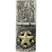 Western Mens Badge Money Clip Star Hinged Cam Silver 021-049