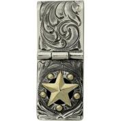 Western Mens Badge Money Clip Star Hinged Cam Silver 021-049