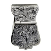 Western Mens Money Clip Wide Engraved Sterling Silver 021-400