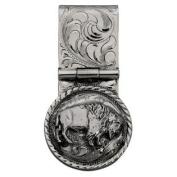 Western Mens Money Clip Engraved Bison Sterling Silver 021-364