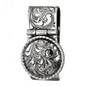 Western Mens Money Clip Hinged Embossed Concho Silver 021-105