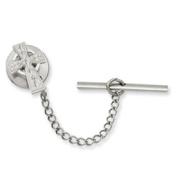 Men's Rhodium-plated Celtic Cross Tie Tack