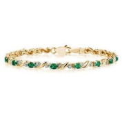10k Yellow Gold Diamond and Emerald Bracelet