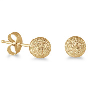 14K Yellow Gold 4mm Laser Cut Ball Stud Earrings