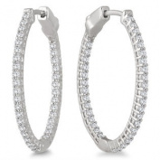 1.00 Carat Oval Diamond Hoop Earrings with Push Button Lock in 10K White Gold
