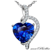 Mabella PWS004CBS 4.10 Ct Created Blue Sapphire Pendant Necklace .925 Sterling Silver with 46cm Chain