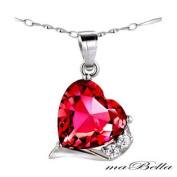 Mabella PWS015CR Ruby Heart Cut 6.06 Ct Pendant Necklace .925 Sterling Silver with 46cm Chain