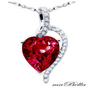 """Mabella PWS004CR 4.10 cttw Heart Shaped 10mm x 10mm Created Ruby Pendant in Sterling Silver with 18"""" Chain"""