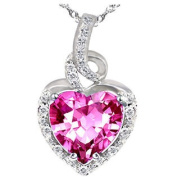 """Mabella 2.0cttw Heart Shaped 8mm x 8mm Created Pink Sapphire Pendant in Sterling Silver with 18"""" Chain"""