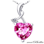 Mabella PWS002CPS 4.03Ct Pink Sapphire Heart Cut Nice Pendant Necklace Sterling Silver with 46cm Chain