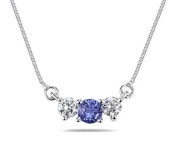 Tanzanite and Diamond Three Stone Pendant in 14K White Gold