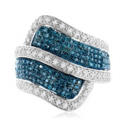 Sterling Silver Blue and White Diamond Wide Bypass Ring