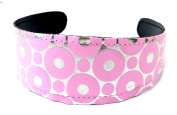 Hairband Pink with Retro Circles Design H7