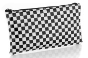 Cosmetic Bag - Black and White Checkerboard