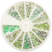RM Beauty Nails Rhinestones in Plate Different Shapes in Green for Nail Art and Nail Art