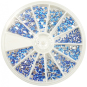 RM Beauty Nails Rhinestones in Plate Different Shapes in Blue for Nail Art and Nail Art