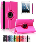 Revesun Hot Pink 360 Degree Rotating PU Leather Case Smart Cover Stand for Apple iPad Mini 4 2015 Version 20cm with Auto/Wake Sleep Feature