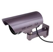 BW Dummy Cameres Outdoor Indoor Fake Dummy Imitation CCTV Security Camera W/ Blinking Flashing Light Bullet Shape Purple