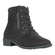Women's Propet Saria Quilted Boot Black Velour Synthetic
