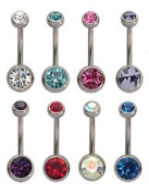 Double Jewelled bellybar Great deal for 8 pieces - choose your size