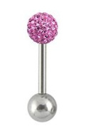 Surgical steel barbell size 6mm with cz crystal - 16G