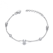 Sterling Silver 925 Bracelet with Pearl and Frosted Crystals
