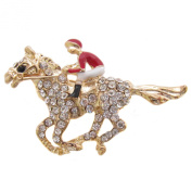 Brooch Boutique Gold Plated Crystal and Enamel Racehorse Brooch / Red Jockey