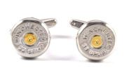 Gemelolandia Cufflinks, Replica of Winchester Bullet, Round Shape, Steel and Gold Colour