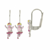 Suzette et Benjamin - Dancer Enamel Earrings Silver 925/1000 Silver with Glitter Pink - Child