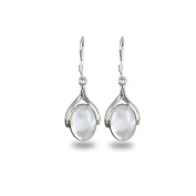 adens - White Mother of Pearl and Medallion Silver 925 Earrings