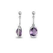 adens Stone - Amethyst and Silver Earrings - Women's - Purple - Size