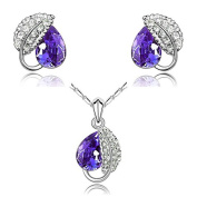 "Eloquence - ""Captivante"" - Crystal Purple Necklace and Earrings for Women"