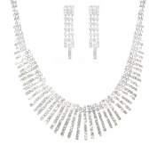 Costume Silver and Diamante Vertical Bar Design Bridal Prom Wedding Necklace and Earring Set