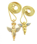 Silver-Tone Dusted Wing Praying Angel & Stone Stud Halo Angel Pendant Set w/ 61 & 76 cm Box Chains in Gold-Tone