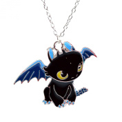 How to Train Your Dragon Necklace - Toothless Night Fury Pendant in Black Enamel - Cartoon Character Necklace for Kids