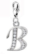 . silver alphabet charms wth Lobster clasp and CZ crystals - choose your initial