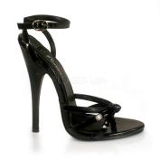 Pleaser Women's 'Domina-33m Black Patent Ankle Wrap Stiletto Sandals