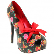 Pinup Couture Women's 'Teeze-3.7m Heart Print Patent Faux Leather Pumps