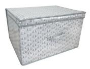 White Wicker Basket Weave Design Jumbo Large Toys Bedding Clothes Laundry Folding Storage Chest