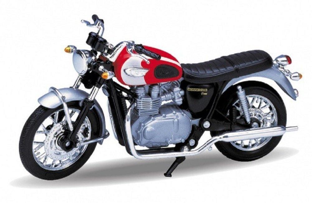 Diecast Model Motorcycle 2002 Triumph Bonneville T100 Red Metal