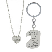 Fun Daisy Family Puzzle Matching Heart Love Necklace and Dog Tag Keychain Set