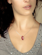 adens - Women's Coral and Silver Pendant - Red - Size