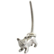 Silver coloured Cat ring holder
