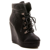 Gomax Women's Fullhouse Ankle High Lace Up Wedge Booties