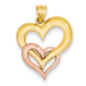 14k Two-Tone Gold Fancy Heart Charm