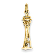 14k Yellow Gold Seattle Tower Charm