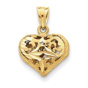 14k Yellow Gold Fancy Heart Charm