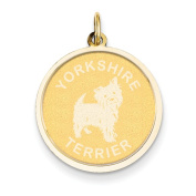 14k Yellow Gold Yorkshire Terrier Disc Charm